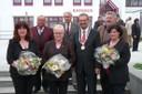 Die ausscheidenden Gemeinderatsmitglieder, die von Bürgermeister Manfred Wolf geehrt wurden